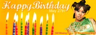Left Eye Birthday Banner Candles White